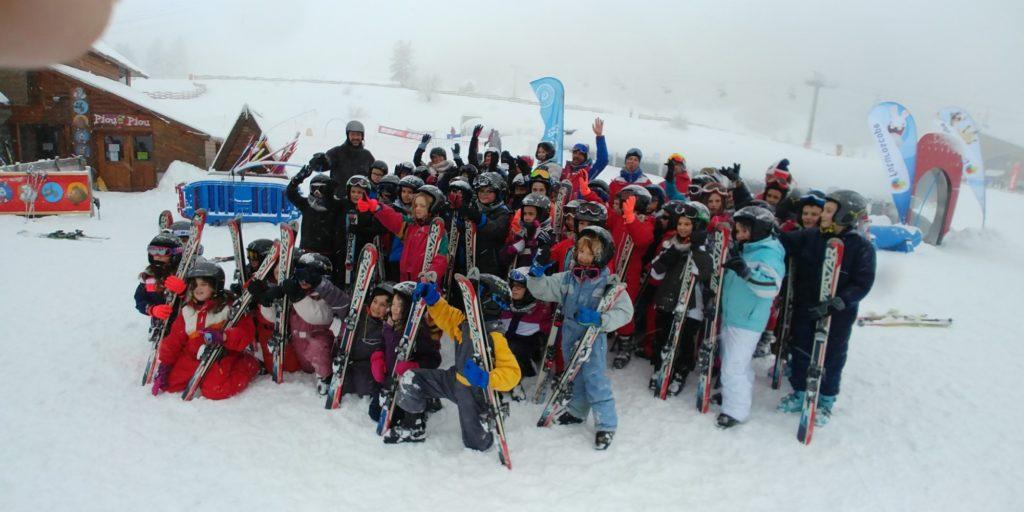 Tout le groupe à la fin du dernier cours de ski.